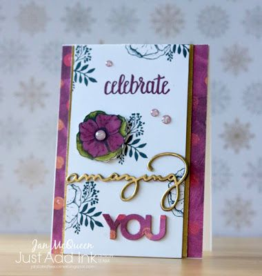 Birthday card featuring Stampin Up's Amazing You for JAI #395 by Jan McQueen. More info @ www.janscreativecorner.blogspot.com