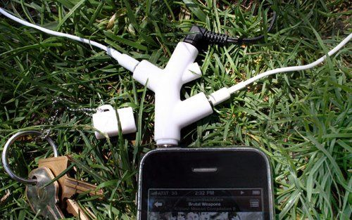 Kikkerland - Branch Headphone Splitter  http://sogadget.com/kikkerland-branch-headphone-splitter/