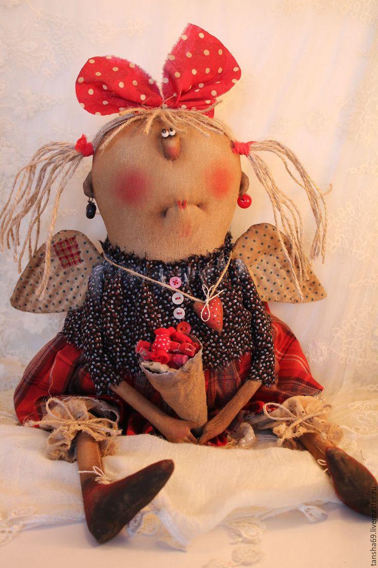 Купить Ангел сладкоежка - комбинированный, текстильная кукла, ароматизированная кукла, интерьерная кукла, ангел, ткань