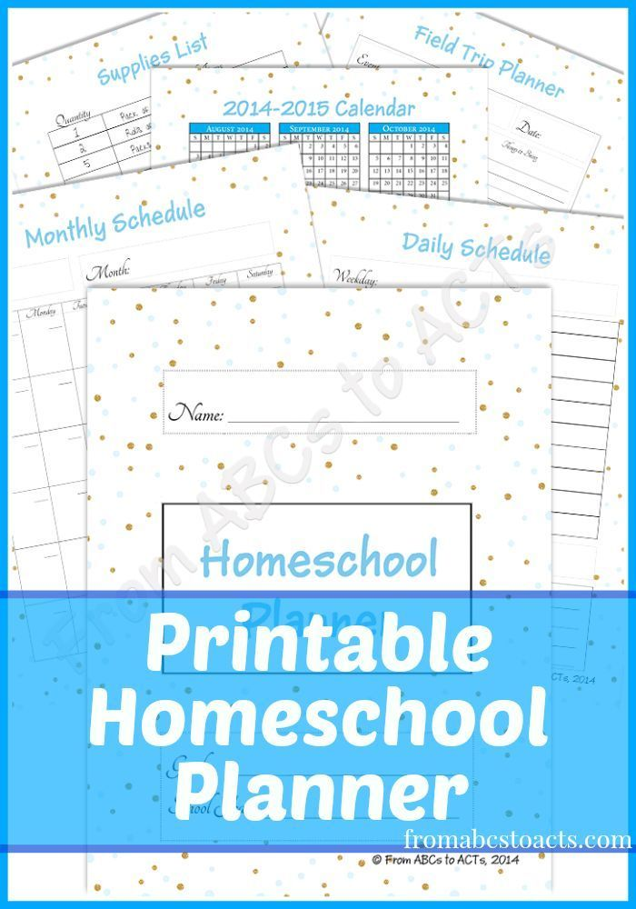 Free Printable Homeschool Planner - From ABCs to ACTs
