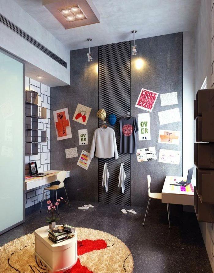 Une Chambre D Ado Garcon Moderne En Gris Chambre Style Urbain