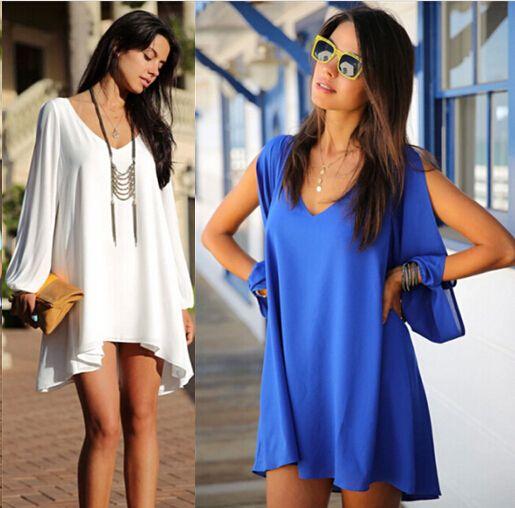 Cheap mujeres sexy vestido nuevo 2014 ronda  cuello sin tirantes sueltas de gasa casual mini blanco más tamaño vestido breve hhy3690lq envío gratis, Compro Calidad Vestidos directamente de los surtidores de China: