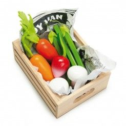 Wooden Crate Containing a Variety of Different Vegetables