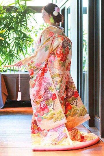 Romantic Pink Iro-Uchikake with Peonies, Pine Boughs, and Chrysanthemums