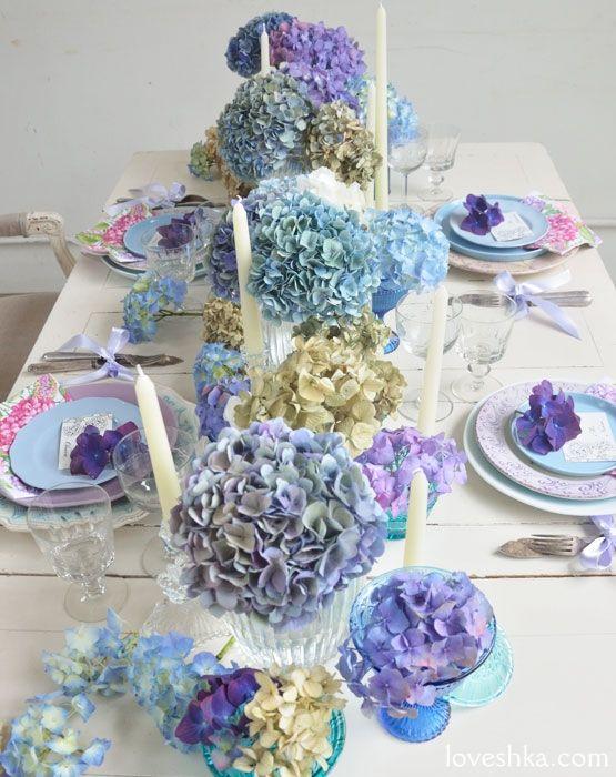 ゼクシィ掲載 / アジサイ / ディスプレイ / テーブル / 装花 / ウェディング / 結婚式 / wedding / オリジナルウェディング / プティラブーシュカ / トキメクウェディング