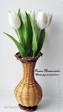 Флористика искусственная День рождения Лепка Букет белых тюльпанов из полимерной глины Пластика Фарфор холодный фото 1