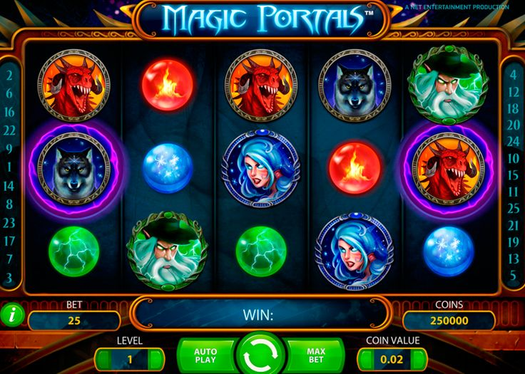 Magic Portals by NetEnt is one of the best online slots on magic theme. 5 reels are filled with beautiful images of fantasy characters and 25 paylines is more than enough to win the prize! When the Free Spins symbol stops simultaneously in the two portals Free Spins feature triggered. During these runs on the 5th reel two additional magical portals appear and free spins may be prolonged.