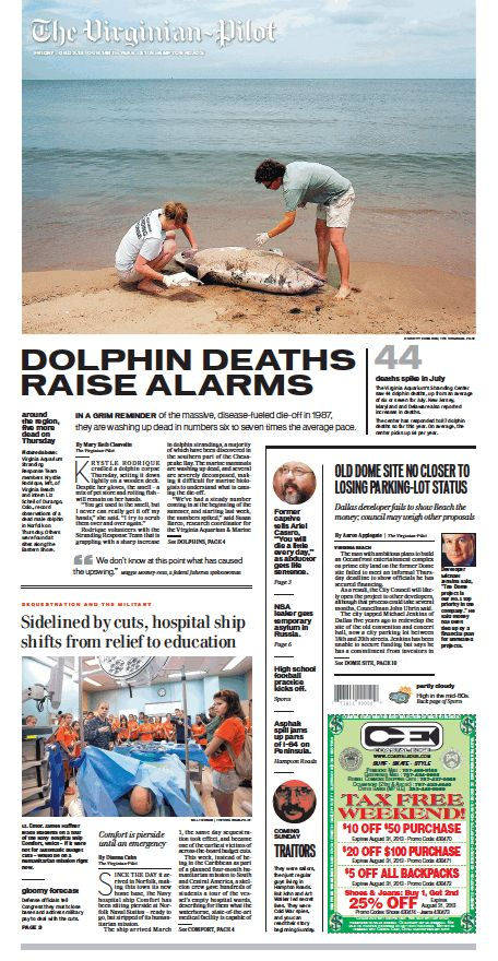 The Virginian-Pilot's front page for Friday, Aug. 2, 2013.
