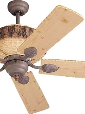 "Monte Carlo 52"" Great Lodge Rustic Ceiling Fan    The Great Lodge Collection Create a Rustic Retreat in any Room Breathe deep. Imagine the fragrance of fresh pine. The look of rough hewn pine logs and pine cone accents create a quiet retreat.    Monte Carlo 52"" Great Lodge 5GL52WI"