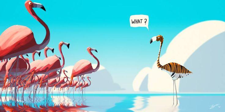 On Logic...  1e2a2b2dfbd139edfe67fcb3ec79b4ef--funny-art-flamingos