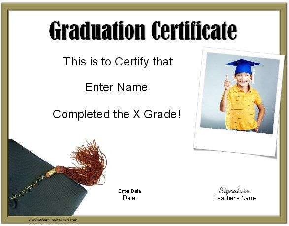 Graduation certificate template with photo - customize online and print at home (free)