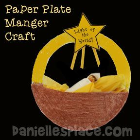 """Baby Jesus in a Manger Craft - """"Light of the World"""" Paper Plate Manger Christmas Craft"""