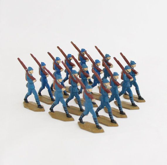 15 pcs Antique Tin Soldiers Lead Soldiers WWI French Army Infantry
