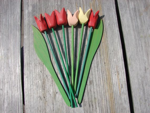 Swedish Vintage Hand Carved Wooden Tulips Spring Home