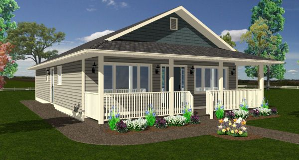 Economical Rancher: This economically designed ranch style home has all the amenities, with three bedrooms, two bathrooms, and an open living area. House Plan No.195001