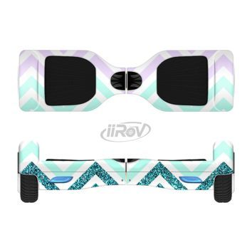 The Light Teal & Purple Sharp Glitter Print Chevron Full-Body Skin Set for the