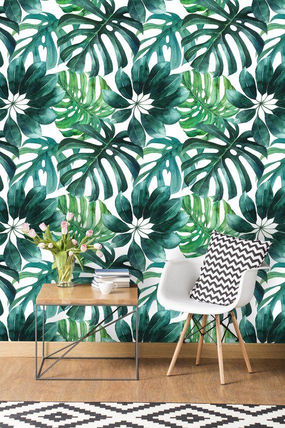 Removable Wallpaper Self Adhesive Wallpaper Green Watercolor Etsy Peel And Stick Wallpaper Palm Wallpaper Wallpaper Roll