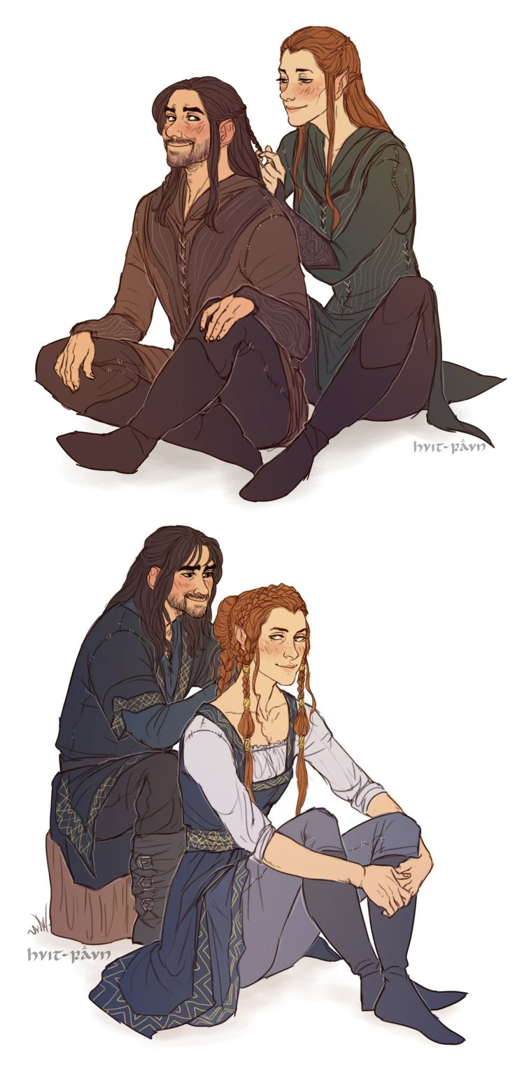 Kili dressed as an elf and Tauriel dressed as a dwarf (by hvit-ravn)