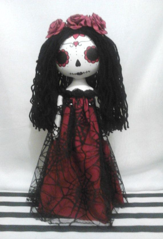 Day Of The Dead Gothic Art Rag Doll La Catrina by ChamberOfDolls