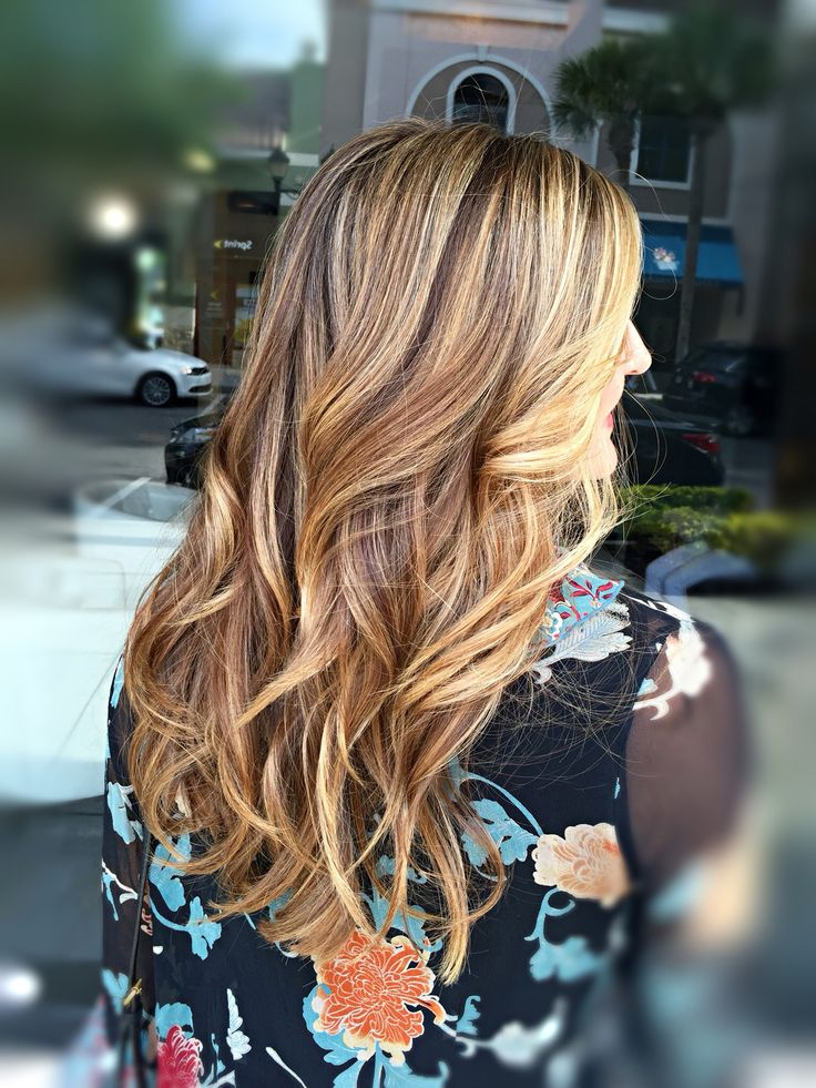 Rich Brunette With Honey And Caramel Highlights