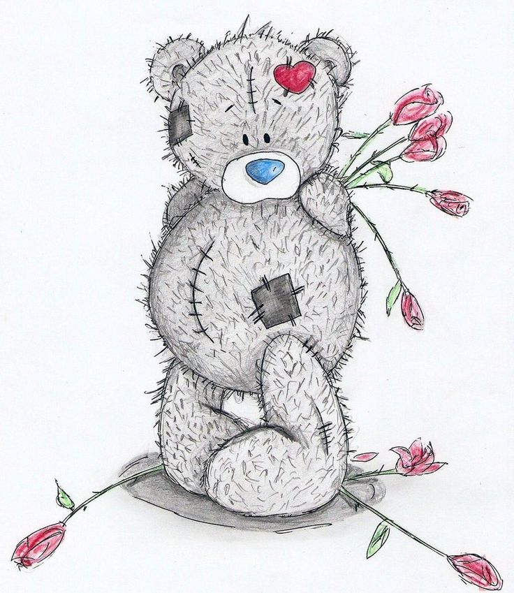 Как нарисовать открытку мишка тедди, днем