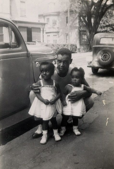 Daddy's Little Girls, 1949 [Rhode Island Beach House Album] [Black Father Series] ©WaheedPhotoArchive, 2011