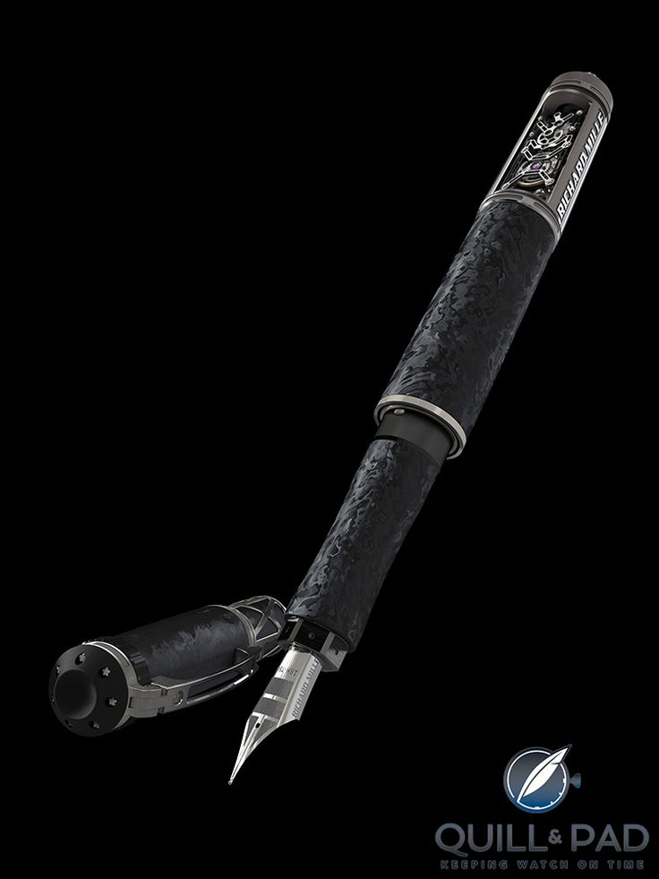 Quick Facts Editions: fountain pen Cap and barrel: NTPT carbon, spline screws that Richard Mille uses on his watches Nib: 18-karat white gold Limitation: limited production, but not a limited edition Price: $105,000, available only at Richard Mille boutiques