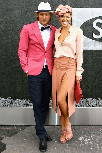 Melbourne Cup couple in pink and peach Via Fashionfile.com.au
