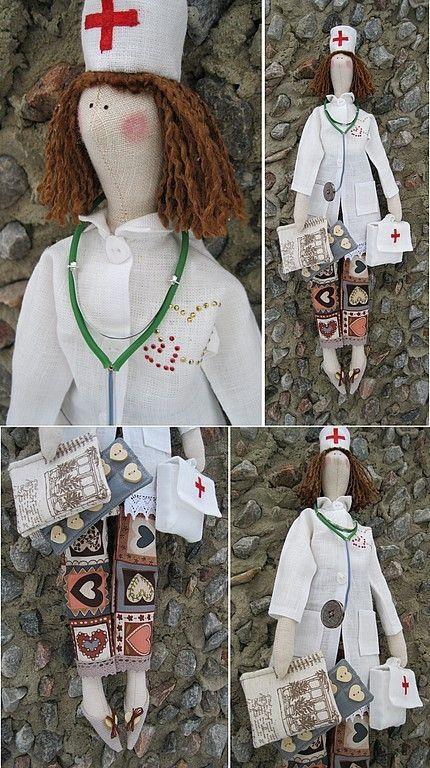 Купить Кукла-тильда Тётя Доктор - белый, кукла Тильда, кукла, куклы и игрушки