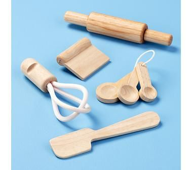 """Kid's Kitchen Toys: Kids Wooden Baking Utensils Toy Play Set. Great quality for heirloom toy and   Perfect for """" helping"""" mommy.  Land of Nod  $12.95"""