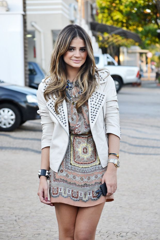 Jacket + Dress = AwesomeScarf Prints, Style, Clothing, Leather Jackets, The Dresses, Fashion Bloggers, Thassia Naves, Tribal Prints, Scarf Dresses