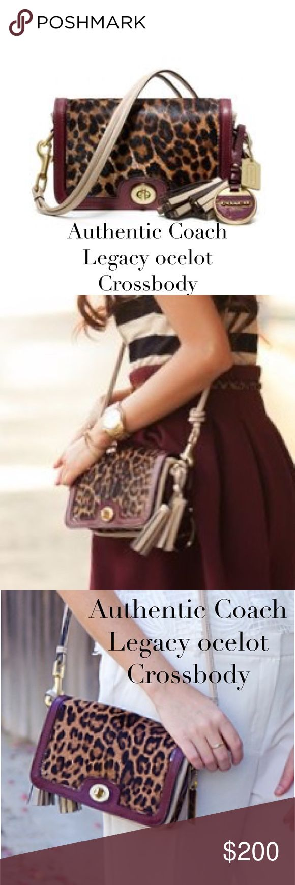 """Authentic Coach Legacy ocelot crossbody bag Coach Legacy ocelot flap crossbody bag. Front flap and top is hair calf. The aubergine leather is a beautiful complement to hair calf The sides are a putty color leather. Back zippered pocket. Slit compartment under front flap. Can be worn as a crossbody with its double leather strap with 20"""" drop or as a clutch. Wear of hair calf (on pictures above) is not easily noticeable when carried and other than that, the bag is impeccable inside and out…"""