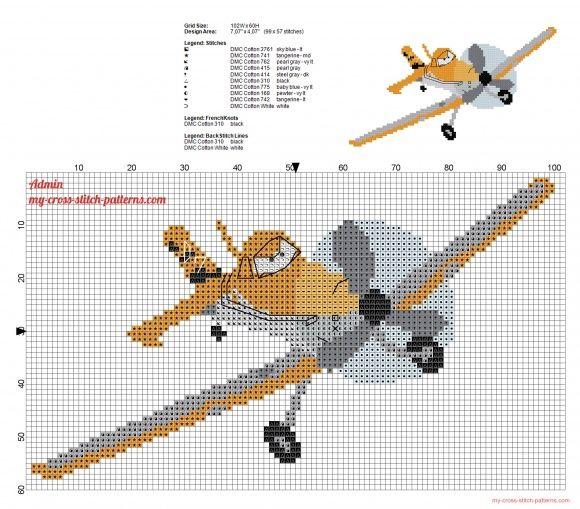 Dusty Crophopper Disney Planes character free cross stitch pattern