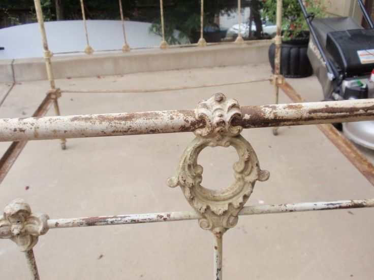 french country antique full size iron bed with rails