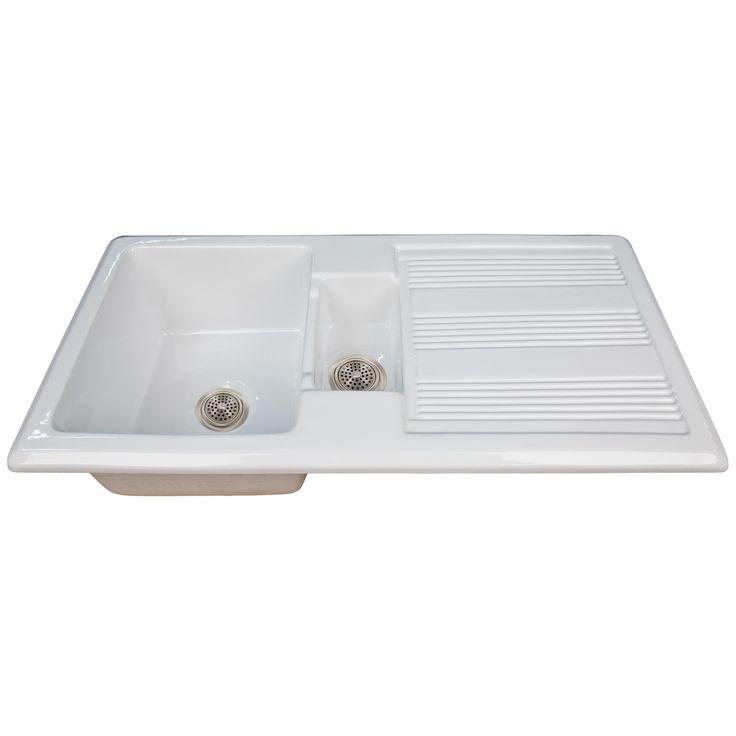 """40"""" Nevan Fireclay Drop-In Sink with Drainboard - White - Kitchen Sinks - Kitchen.  $569"""