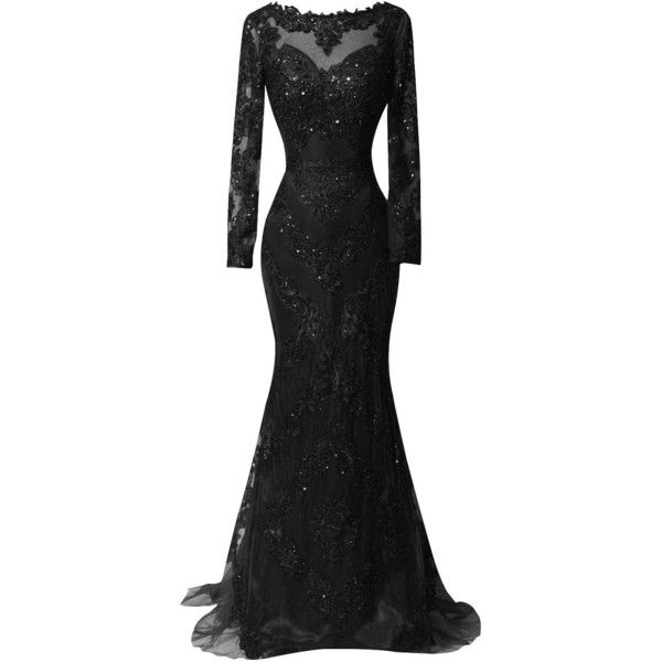 ORIENT BRIDE Scoop Beaded Appliques Formal Evening Dresses with Long... ($180) ❤ liked on Polyvore featuring dresses, women dresses, applique dress, beaded formal dresses, bridal dresses and long sleeve dresses