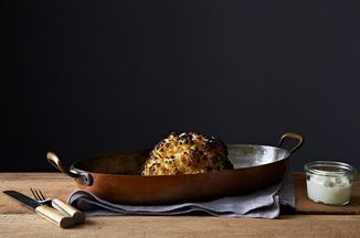 Alon Shaya's Whole Roasted Cauliflower and Whipped Goat Cheese Recipe on Food52, a recipe on Food52