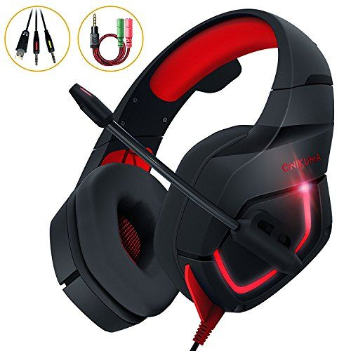 (PC Gaming Headset, Stereo Gaming Headphone Over-ear Headband with Mic for PC PS4 Xbox one S Nintendo Switch Laptop Control 3.5mm Audio Splitter Cable (Red)) Can be viewed at http://best-headphones-review.com/product/pc-gaming-headset-stereo-gaming-headphone-over-ear-headband-with-mic-for-pc-ps4-xbox-one-s-nintendo-switch-laptop-control-3-5mm-audio-splitter-cable-red/  Flexible Directional Mic Easy to rotate to best position for clearest voice % up-or up and out of the w