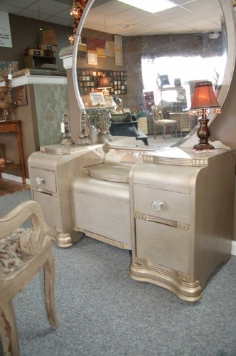 An Antique Waterfall Vanity Repurposed Silver .. Doing this to my vanity with silver, teal and brown for the bedroom :)