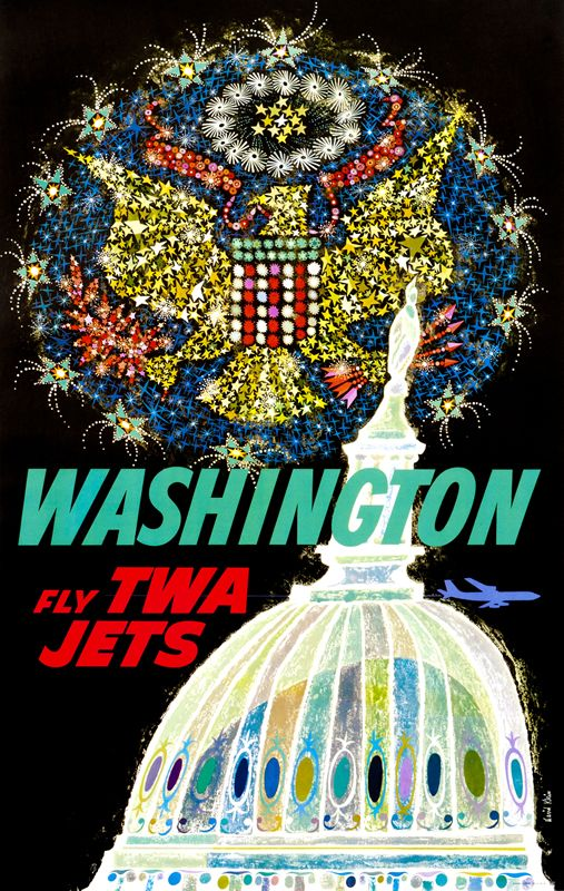 Washington - Fly TWA Jets by Klein, David | Vintage Posters at International Poster Gallery