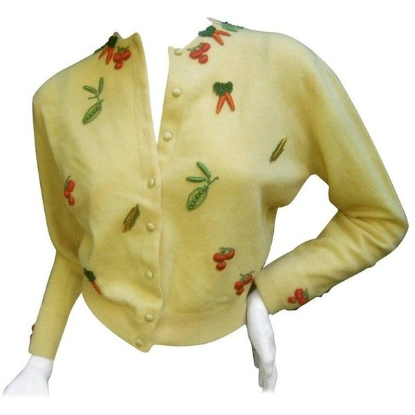 Preowned Whimsical Buttercup Yellow Cashmere Vegetable Theme Cardigan... ($295) ❤ liked on Polyvore featuring tops, cardigans, yellow, yellow top, beige top, petite cardigans, cardigan top and flat top