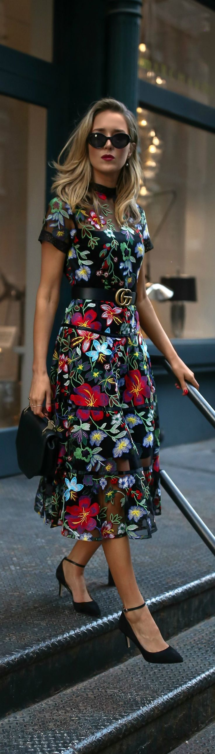Fall Florals // Floral print embroidered midi dress, leather waist belt, ankle strap pumps, mini shoulder bag, cat eye sunglasses, pearl drop earrings {Anthropologie, Gucci, Sam Edelman, Marc Jacobs, fall winter 2017 trends, fall trends, fashion trends, classic style}