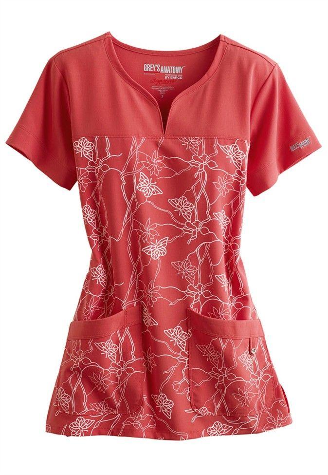 Greys Anatomy Signature Soleil stretch print scrub top. Main Image