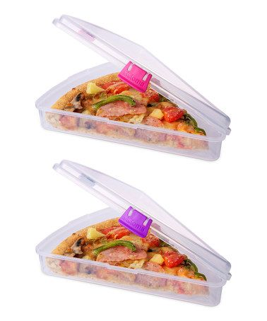 Pink  Purple Pizza Slice to Go Container Set on zulily today!