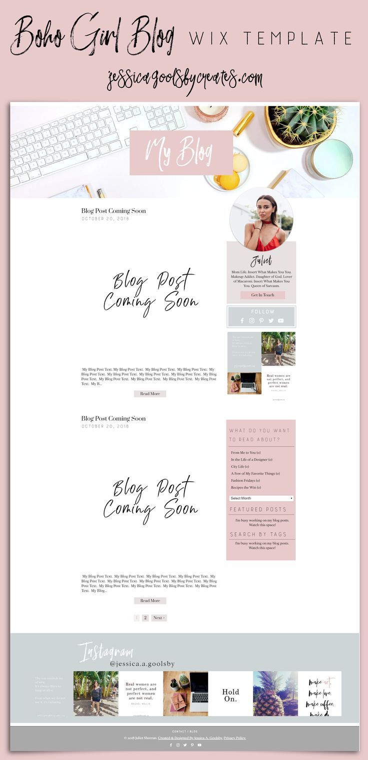 Boho Girl Blog Wix Template Wix Website The Easiest Way To Create A Website Try It For Free Wi Wix Templates Wix Website Templates Blog Website Template