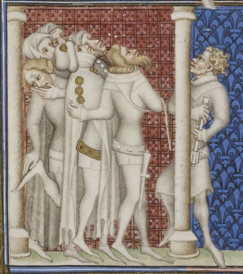 Bibliothèque nationale de France, Français 2813, detail of f. 3v. Grandes chroniques de France. Paris, c1375-1380. It's hard to watch ...