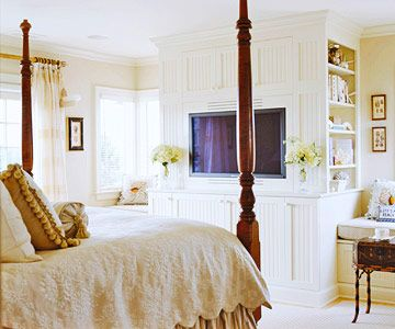 Comfort is the number one consideration when incorporating media into your bedroom. A television--and its supportive cabinetry--should be as unobtrusive as possible. If you can't find the perfect piece, consider hiring a carpenter to build something that perfectly fits your TV's proportions.