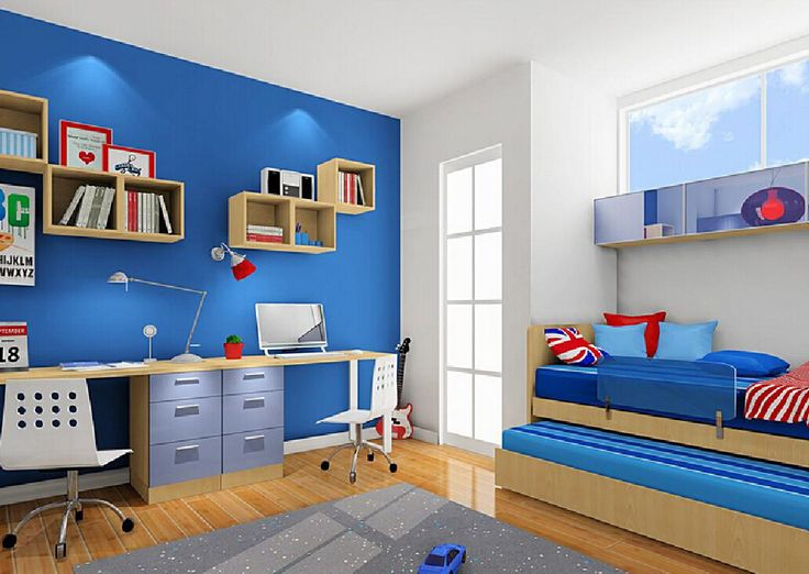 3D children's bedroom with wood floors and blue wall