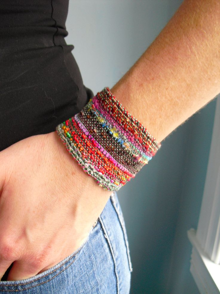 Handwoven Fabric Cuff Bracelet, Bands of Autumn. $24.00, via Etsy.