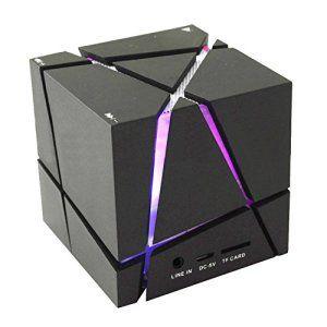 COOSA Cube Design Colorful LED Mini Portable Enceinte Bluetooth Musique Bluetooth 4.0 sans fil avec haut-parleur stéréo Microphone…
